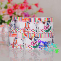 Wholesale 10 yards quot mm Zebra printed frozen princess snowman cartoon ribbon DIY ployester ribbon