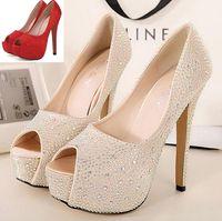 Wholesale 2014 Champagne rhinestone wedding shoes glitter peep toe high heels satin pumps dreamy prom dress shoes red pumps ePacket