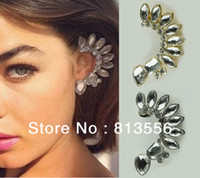 Stud Women's Stud Earrings New Arrival Euramerican Pop Gold Plated Crystal Leaf Ear Cuff Fashion Earrings SE283