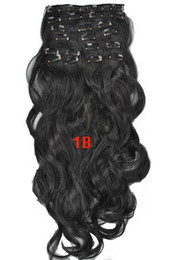 """100g 22"""" clip in human hair extensions Peruvian Hair Remy human hair 8pcs set wavy 8# body weave for shipping"""