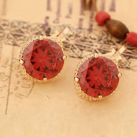 Wholesale Round Zircon Inlaid Rose Gold Plated Alloy Ear Stud amp Ear Clip Fashion Female Jewelry B1433
