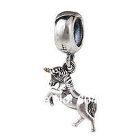 Wholesale 1PCS Sterling Silver European Style Dangle Unicorn Charm Beads Fits Chamilia Style Bracelets Jewelry