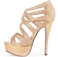 Wholesale 2014 sexy wedding shoes Silver Gold Gladiator Sandals strappy high platform stiletto heel dress shoess ePacket