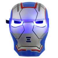 Wholesale GLOW In The Dark LED Iron Man Mask Halloween Costume Theater Prop Novelty Make Up Toy Kids Boys Favorite Iron Man Mask with Lite up eyes