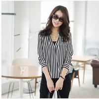 Casual Women Chiffon ladies chiffon Vertical stripes shirt girls full sleeve shirt women summer fashion tops