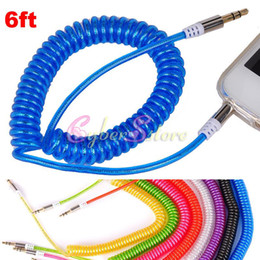 6ft 2M 3.5MM AUX Audio Cable Car Stereo Extension ressort rétractable pour téléphone portable de voiture iphone 5 ipad, ipod tablette haut-parleur à partir de câble audio rétractable aux fabricateur