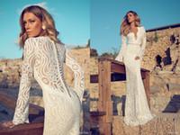 cover wedding - Distinctive Julie Vino Wedding Dresses Deep V Neck Long Sleeves Covered Button Back Sheath Vintage Floor Length Lace Bridal Gowns