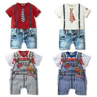 Girl Summer 100% Cotton summer infant boy faux denim jeans suspender rompers onesizes toddler baby tie romper bodysuit jumpsuit one-piece short sleeve climb clothes