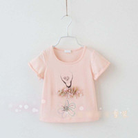 Girl Summer Standard New 2014 Brand Clothing Children Girls Elegant Ballet Pattern Cotton Short Sleeve T-shirt Metoo Cute Flower Tee Shirt Tops 2298