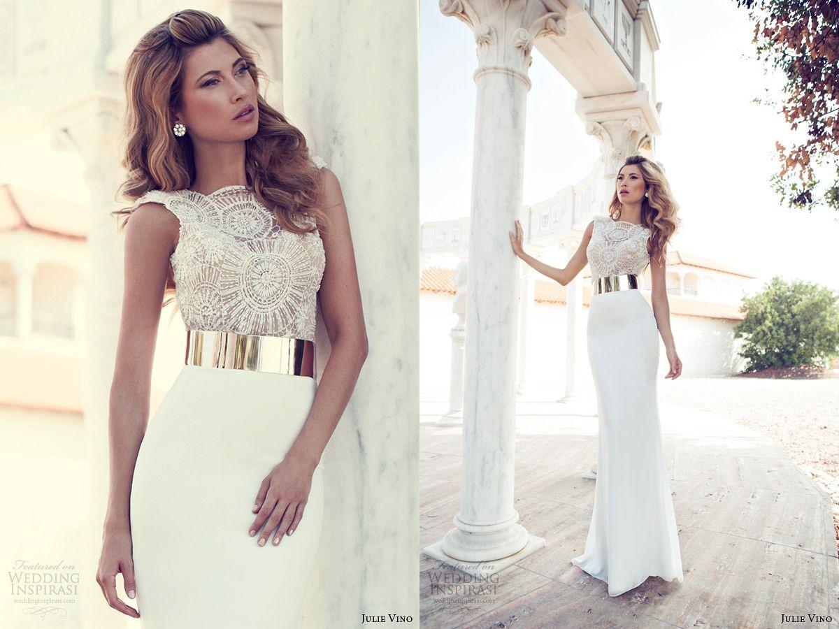 Elegant Julie Vino 2014 Slim Sheath Wedding Dresses Crew