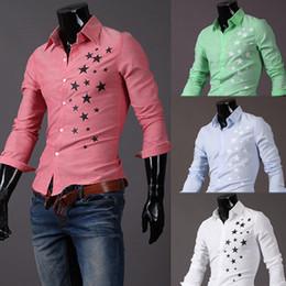 Wholesale 1009 HOT New Fashion stars printed Men s Long Sleeve Shirts Casual Slim Shirt