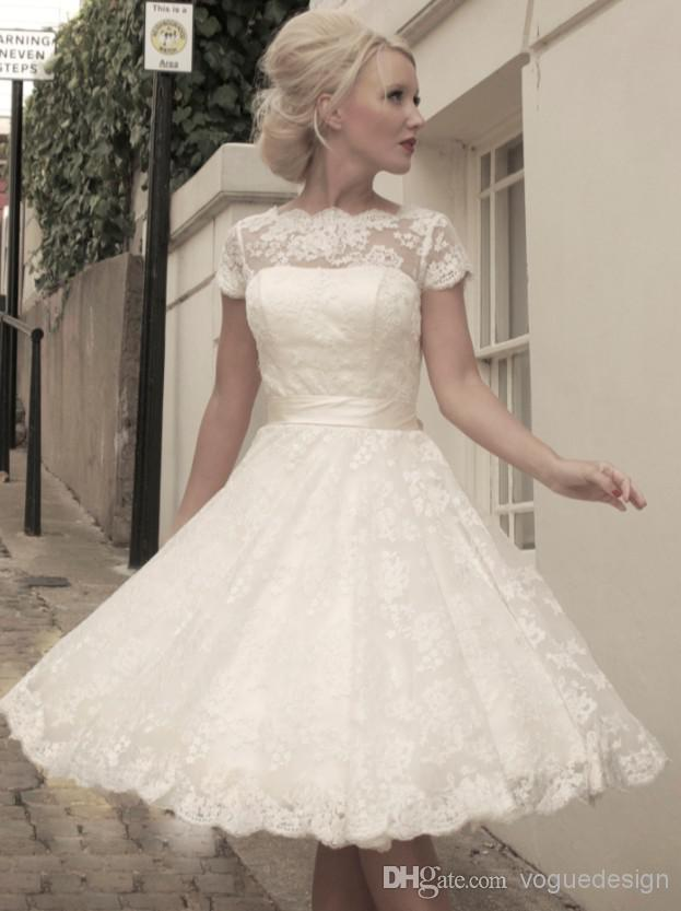Discount 2014 High Quality Cheap Vintage Wedding Dresses Lace Short Sleeve A Line Bateau White