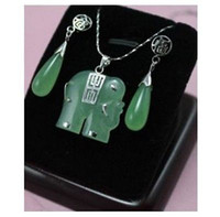 Earrings & Necklace Jade Sterling Silver Wholesale Price Noblest green jade fortune elephant pendant earring