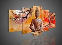 achat en gros de cadres photo prix-Prix de gros 5 Panneau mural Art Religion Bouddha 100% Peinture à l'huile sur toile Photo