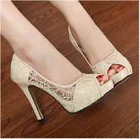 Wholesale New Lady Sexy Lace Hollow out Platform High Heels shoes Women Stiletto Peep toe shoes lady Fashion High Heel Shoes