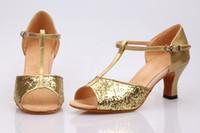 Wholesale Girls Women Adult Latin Ballroom Dance Dancing Shoes Red Blue Black Gold Silver Glitter