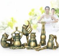 Wholesale Creative Household Adornment artware yoga frog six pieces set craft