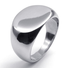 New Polished Stainless Steel Band Biker Men's Signet Ring, Color Silver US size 6-14 Whitney Houston Drop Shipping!!!