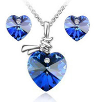 Wholesale 2014 New Romantic Austrian Crystal Heart Jewelry Sets Fashion Bridal Sets Crystal Jewelry crystal jewelry set wedding jewelry