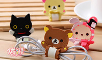 Wholesale New Cute Rilakkuma designs earphone cable winder mobile strap charm wire holder