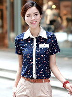 Wholesale Beautiful Cotton Hearts Pattern Print Turndown Collar Blouse For Women sexy blouses r27 u23 m5w