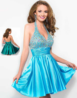 Cheap Wholesale - 2014 Sexy Wow Short Prom Dresses V-Neck Backless Beaded Sequin Mini Party Dress Girls Graduation Dresses Junior Homecoming Queen