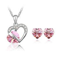 Wholesale 2014 New Romantic angel heart Austrian crystal jewelry set Stunning mutual affinity Earrings Necklace set wedding jewelry set