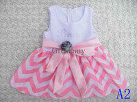 Wholesale baby chevron dress girls rose dress children cute bow skirt girl Tutu sundress girl princess dresses colors for choose
