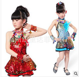 Wholesale New fashion children Latin dance sequin costumes sexy dresses dancing wear stage wear girls costume dance wear clothes clothing DF001