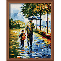 Wholesale Diy digital oil painting by numbers coloring by numbers handpainted canvas painting with frame love back
