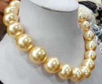 big pearl necklace wedding - Price hot Big mm Round golden southsea shell pearl necklace quot