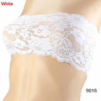 Women Corset & Bustier  New style 10pcs Sexy Strapless Lace Stretch Boob Crop Tube Top Bra 09016 6Colors Choose