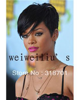 Wholesale Celebrity Hairstyles Rihanna Sexy Hairstyle Black Short Straight Lady s Fashion Synthetic Hair Wig Wigs