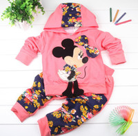 Wholesale E Best Retail one set baby girls new design Minnie clothing sets hoodies long pant girls tracksuits girls suits PT019