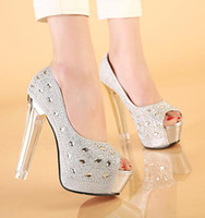 Women Pumps Spring and Fall 2014 silver gold diamond wedding shoes rhinestone crystal shoes high heel peep toe prom shoes pumps size 34 ePacket Free Shipping