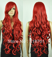 Brazilian Hair Ombre Color Synthetic Hair Capless 33inch Long Wavy Red Heat-resistant Fashion Costume Party Wig Free Shipping