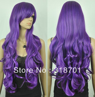 Brazilian Hair Ombre Color Wig,Half Wig Long Wavy Heat-resistant Fashion Purple Costume Party Wig Free Shipping