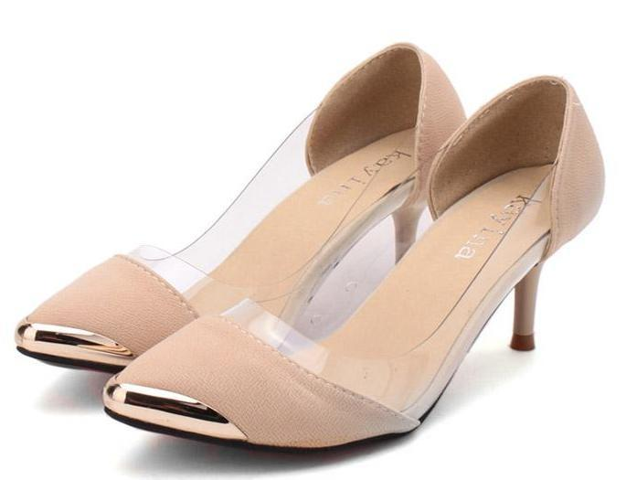 New Glitter Transparent Shoes Gold Pumps Pointed Toe Kitten Heel ...