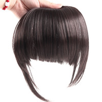 Wholesale DIY Styling Synthetic Fibre Flat Front with Side Fringes Bang Wigs Clip on Hair Extension Women Chestnut Color