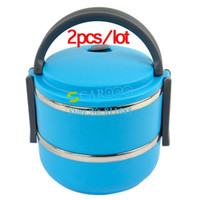 Ceramic Dinnerware Sets Eco-Friendly 2pcs lot New Blue Two Layers Stainless Steel Children Lunch Box 1.4L Keep Warm Food Container For Kid 15040
