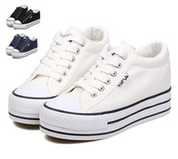 Wholesale 2014 Women fashion white canvas shoes colors high platform flat causal shoes Fashion Sport Shoes size to epacket