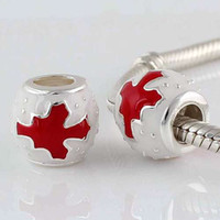 Wholesale Sterling Silve Red Maple Leaf Enamel beads Fits Chamilia European Charm Bracelet DY058