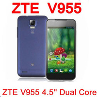 ZTE 4.7 Android Original ZTE V955 4.5'' MSM8225 Dual Core Mobile Phone Android 4.0 Dual SIM WCDMA GPS Russian Multi Language Free Shipping