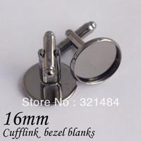 bezels - Bulk gunmetal black mm setting fit glass cabochons bezels cufflink blanks cufflinks base findings