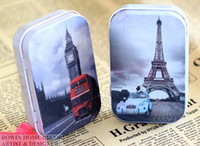 Wholesale pc eiffel tower Europe Mini Tin Candy Can Storage Case Jewelry Box coin money box metal crafts Party favor