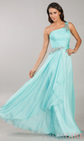 Wholesale Big Discount One Shoulder Seafoam Salmon Cobalt Chiffon Prom Dresses Cheap One Shoulder Beaded Ruched Long Evening Formal Dresses