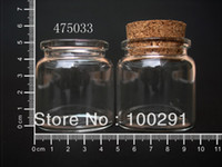 Jewelry Findings Yes Glass free shiping !!! Wholesale Lot of 50pcs lot Clear Corks Glass Bottle Vials 50ml