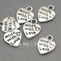 Wholesale Free ship X12mm piece Heart Made with love stamped tag Antique silver Jewelry bead making alloy metal pendant charms