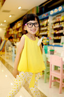 Wholesale Girls Children Summer Outfits Girls Flower Solid Cotton Sleeveless T shirt Dot Capri Pants piece Suits Sets Kids Sleeveless Sets