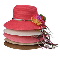 Wholesale Fashion Women Straw Hats Chiffon Ribbon Ornament Wide Brim Hats Stylish Lady Summer Beach Hats Sun Caps DWA